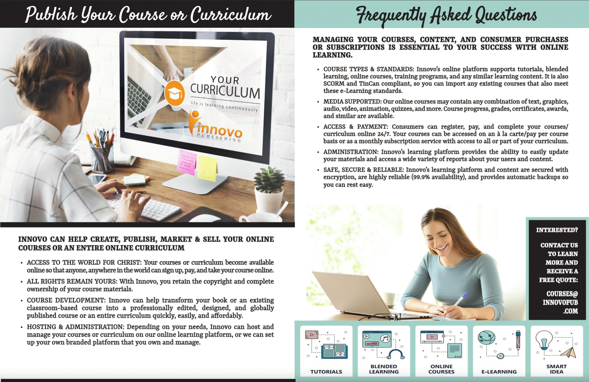 Innovo Course and Curricula Publishing for Christian Authors, Artists, and Ministries